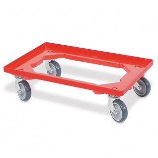 Transportroller / Logistikroller LxBxH 615 x 415 x 175 mm, rot, graue Gummiräder, Tragkraft 250 kg