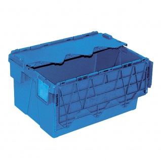 Mehrwegbehälter mit anscharnierten Deckeln, Farbe blau, LxBxH 600 x 400 x 305 mm