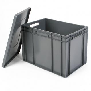 Stapelbehälter mit Deckel, LxBxH 600x400x420 mm, 83 Liter, grau, lebensmittelecht