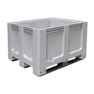 Palettenbox mit 3 Kufen, LxBxH 1200 x 1000 x 760 mm, grau, Tragkraft 600 kg