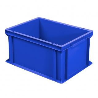 Stapelbehälter / Eurobehälter mit 2 Griffleisten, LxBxH 400 x 300 x 220 mm, blau, Boden/Wände geschlossen - Vorschau
