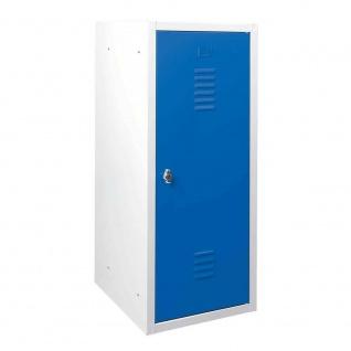 Schließfachschrank aus Stahlblech, HxBxT 900x415x490 mm, lichtgrau/blau