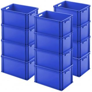 12 Euroboxen mit Durchfassgriffen, LxBxH 600 x 400 x 320 mm, 65 Liter, blau