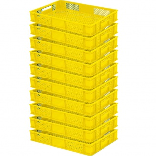 10 Bäckerkisten / Euroboxen, LxBxH 600 x 400 x 90 mm, lebensmittelecht, gelb