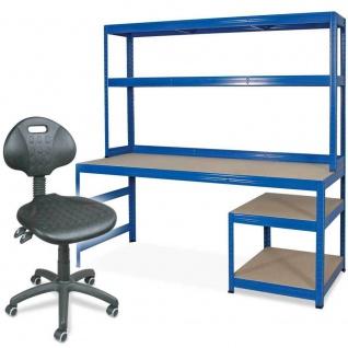 Packtisch / Werkbank mit Regalaufsatz + Arbeitsdrehstuhl mit Rollen