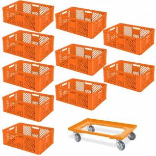 10 Euroboxen, 600x400x240 mm, orange, lebensmittelecht + GRATIS Transportroller