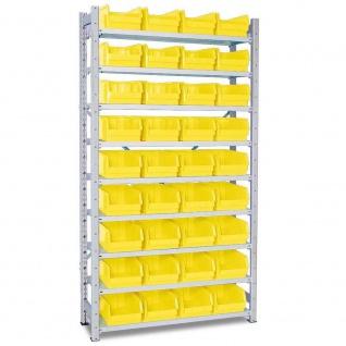 Fächerregal m. 36 Sichtboxen LB3 gelb, verzinkt, BxTxH 1070x315x2000 mm, 9 Böden