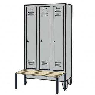 Kleiderspind mit Füßen und Sitzbank, HxBxT 1850x900x500/815 mm, lichtgrau