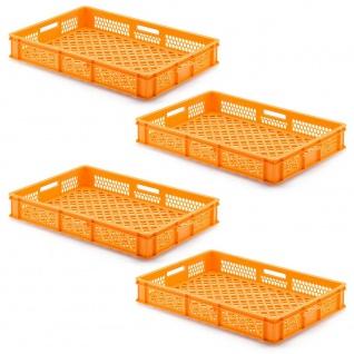 4 Transportbehälter für Backbleche, LxBxH 655x450x120 mm, orange, durchbrochen