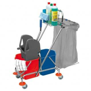 Doppelfahrwagen mit 2x 17 Liter Eimern, Mopp-Presse, Halterung für Abfallsäcke