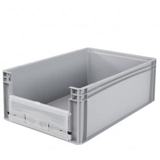 Eurobehälter / Stapelbehälter mit Eingrifföffnung und Riegelklappe, LxBxH 600 x 400 x 220 mm, grau - Vorschau 2