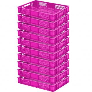 10 Bäckerkisten / Euroboxen, LxBxH 600 x 400 x 90 mm, lebensmittelecht, pink