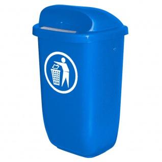 Abfallbehälter für den Außenbereich, Inhalt 50 Liter, nach DIN 30713, blau