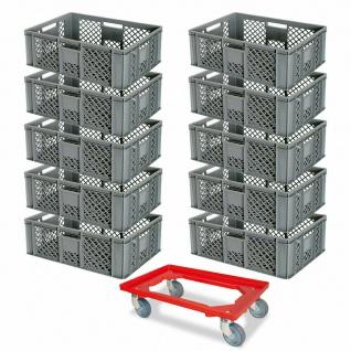 10 Euroboxen, 600x400x240 mm, grau, lebensmittelecht + GRATIS Transportroller