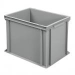 Stapelbehälter / Eurobehälter mit 2 Griffleisten, LxBxH 400 x 300 x 320 mm, grau, Boden/Wände geschlossen