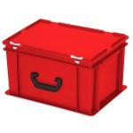 Kunststoffkoffer / Eurokoffer, Inhalt 21 Liter, LxBxH 400 x 300 x 230 mm, rot