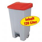 Abfallsammler / Müllbehälter 120 Liter, mit Fußbedienung, Korpus grau / Deckel rot