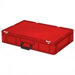 Kunststoffkoffer / Eurokoffer mit 1 Tragegriff, LxBxH 600 x 400 x 130 mm, rot
