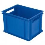 Stapelbehälter / Lagerkasten mit 2 Durchfassgriffen, LxBxH 400 x 300 x 270 mm, blau, Boden/Wände geschlossen