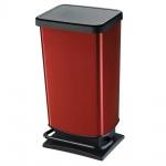 Tretabfalleimer, Inhalt 40 Liter, HxBxT 676 x 295 x 353 mm, schwarz/rot metallic