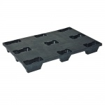 Kunststoffpalette, 1200 x 800 mm, 2000/500 kg, geschlossen, schwarz