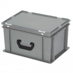 Kunststoffkoffer / Eurokoffer, Inhalt 21 Liter, LxBxH 400 x 300 x 230 mm, grau