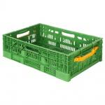 Klappbehälter / Gemüsekiste, LxBxH 600 x 400 x 180 mm, grün, Boden und Wände durchbrochen
