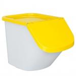 Zutatenspender, Inhalt 40 Liter, LxBxH 610 x 430 x 450 mm, Behälter weiß, Deckel gelb