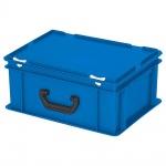 Eurokoffer mit Scharnierdeckel, Inhalt 16 Liter, LxBxH 400 x 300 x 180 mm, blau