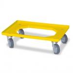Transportroller für Eurobehälter 600 x 400 mm, gelb, 4 Lenkrollen, graue Gummiräder