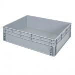 Eurobehälter / Stapelbehälter mit 2 Griffleisten, LxBxH 800 x 600 x 220 mm, grau, Boden/Wände geschlossen
