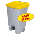 Tretabfalleimer mit Rollen, Inhalt 80 Liter, BxTxH 420 x 490 x 740 mm, Korpus grau, Deckel gelb