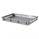 Stapelbehälter / Eurobehälter mit 2 Griffleisten, LxBxH 600 x 400 x 75 mm, grau, Boden/Wände durchbrochen