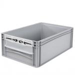 Eurobehälter / Stapelbehälter mit Eingrifföffnung und Riegelklappe, LxBxH 600 x 400 x 220 mm, grau