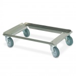 Aluminiumroller für Eurobehälter 600x400 mm, Tragkraft 250 kg, offenes Deck, graue Gummiräder