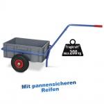 Handwagen mit herausnehmbarem Kunststoffkasten 600 x 400 x 220 mm, pannensichere Reifen, Tragkraft 200 kg