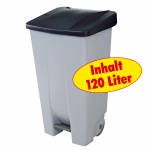 Abfallsammler / Müllbehälter 120 Liter, mit Fußbedienung, Korpus grau / Deckel schwarz