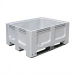 Großbox mit 3 Kufen, LxBxH 1200 x 1000 x 580 mm, Inhalt 400 Liter, grau, Boden und Wände geschlossen