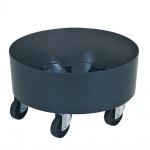 Tonnenroller aus Kunststoff, Außen-Ø 450 mm, Tragkraft 100 kg, verzinkte Lenkrollen und 5 schwarze Kunststoffräder Ø 75 mm
