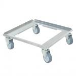 Aluminiumroller für Spülkörbe 500 x 500 mm, Tragkraft 250 kg, graue Gummiräder, Deck offen