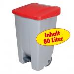 Tretabfalleimer mit Rollen, Inhalt 80 Liter, BxTxH 420 x 490 x 740 mm, Korpus grau, Deckel rot