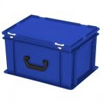 Kunststoffkoffer / Eurokoffer mit 1 Tragegriff, LxBxH 400 x 300 x 230 mm, blau