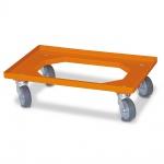 Transportroller für Eurobehälter 600 x 400 mm, orange, 4 Lenkrollen, graue Gummiräder