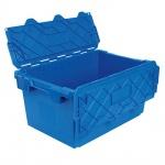 Mehrwegbehälter mit anscharnierten Deckeln, Farbe blau, LxBxH 715 x 465 x 355 mm