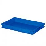 Stapelbehälter mit 2 Griffleisten, LxBxH 600 x 400 x 75 mm, blau, Boden/Wände geschlossen