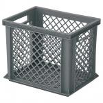 Stapelbehälter / Eurobehälter mit 2 Durchfassgriffen, LxBxH 400 x 300 x 325 mm, grau, Boden/Wände durchbrochen