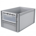 Eurobehälter / Stapelbehälter mit Eingrifföffnung und Riegelklappe, LxBxH 600 x 400 x 320 mm, grau