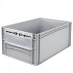 Eurobehälter / Stapelbehälter mit Eingrifföffnung und Riegelklappe, LxBxH 600 x 400 x 270 mm, grau