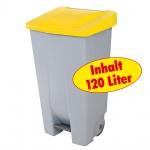 Abfallsammler / Müllbehälter 120 Liter, mit Fußbedienung, Korpus grau / Deckel gelb