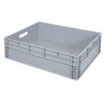 Eurobehälter mit 2 Durchfassgriffen, LxBxH 800 x 600 x 220 mm, grau, Boden/Wände geschlossen